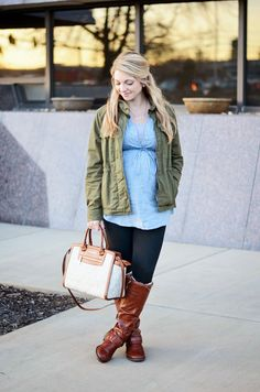 Chambray & military for a casual, daytime look