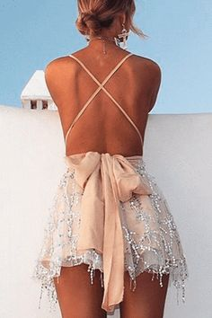"""The beautiful """"Multiway Mini Dress"""" is the perfect statement outfit. Hoco Dresses, Homecoming Dresses, Sexy Dresses, Cute Dresses, Formal Dresses, Backless Sequin Dress, Sequin Mini Dress, Gold Sequin Dress Short, Look Fashion"""