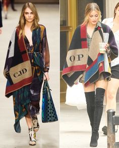 We're obsessed! Leave it to Olivia Palermo to be among the first to wear the coveted monogrammed Burberry Prorsum blanket poncho! #InStyle