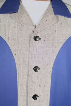 Size L+ Royal Blue Gabardine and Light Gray Atomic Flecked Jacket. See more or buy it at: http://www.reprovintageclothing.com/clothing/clothing_men/cm0329.html