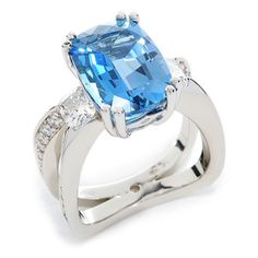 Evolve 161-R05M Colored Gemstones Diamonds Fashion Ring - 2.73ct Aquamarine set in 14K White Gold accented by Diamonds.