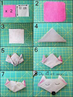 Du fil et mon...: origami tissu renard, chat ...