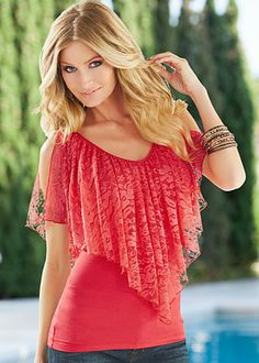 Orange (OR) Lace Ruffle Top $24