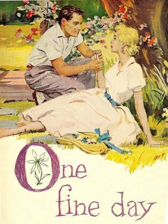 """One Fine Day"", a romantic short story from Good Housekeeping (c) 1957. The dress and straw hat with blue ribbons… how sweet!"