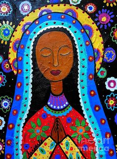 Our lady of Guadalupe, Virgin Mary, Mexican Saint, Santo,Mexican art painting by Pristine Cartera Turkus; Artist Canvas, Canvas Art, Canvas Prints, Painting Prints, Art Prints, Painting Art, Owl Paintings, Mexican Paintings, Kahlo Paintings