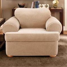 Amazon.com: Sure Fit Stretch Stripe 2-Piece T Chair Slipcover, Sand: Home & Kitchen