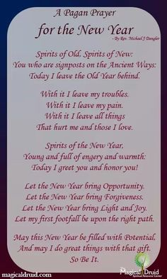 Book of Shadows:  #BOS A Pagan Prayer for the New Year page.