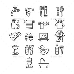 Hygienic and Bathroom Icons Set