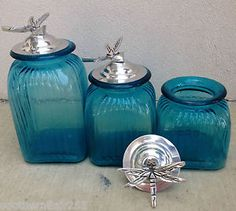 OCEAN-BLUE-TURQUOISE-CANISTER-SET-WITH-DRAGON-FLY-RING-LIDS