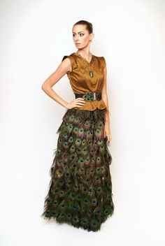 Peacock Skirt full length by xiaolindesign on Etsy