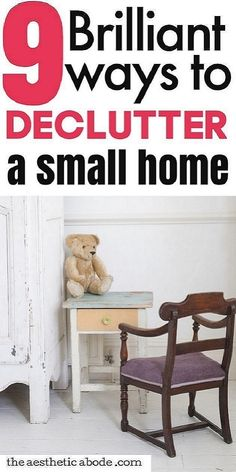 These amazing ideas for organizing small spaces will help you declutter a small house in no time. Don't miss these 10 brilliant solutions for decluttering small homes. Click through to learn about the genius ways to organize and declutter small spaces including small bedroom, kitchen and bathroom without feeling overwhelmed. I'm sure these easy ways to declutter your small home will help you get a clean and tidy home. #organizing #organizingideas #smallspace #decluttering #declutter