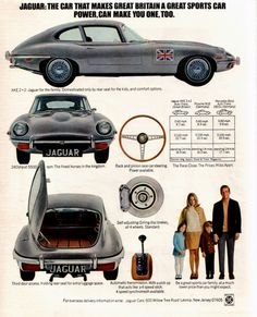 A reader badly wants Jaguar to produce a longer F-Type with an… Advertising Signs, Vintage Advertisements, Retro Cars, Vintage Cars, Automobile, Automotive Engineering, Car Brochure, Jaguar E Type, Top Cars