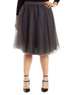 Plus Size Gray Tulle Midi Skirt by Charlotte Russe – Size 2X