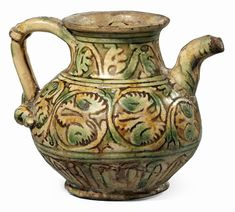 Brocchetta in maiolica policroma verde rame e giallo ferraccia - cm. Terracotta, Tea Pots, 3 D, Medieval, Pottery, Graffiti, Mosaics, Vintage, Artists