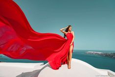 Artistic photoshoots & flying dress rental in Santorini, Greece. Magic pictures from the most romantic island of the world! High Fashion Photography, Erotic Photography, Creative Photography, Rent Dresses, Nice Dresses, Santorini, Adventure Aesthetic, Lady In Red, Photoshoot