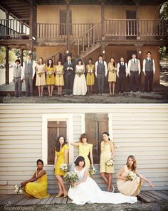 The first time I've seen the each-girl-pick-her-own-dress-in-a-color-other-than-black approach actually be pulled off well (and in yellow!--one of the hardest shades to wear).  Good work, ladies!  Maybe should have given this a try after all.