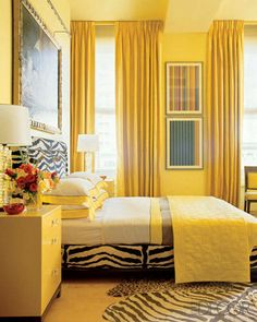 52 Delightful Yellow Bedroom Decoration And Design Ideas. Yellow is just one of those happy, peppy shades that make you feel good. In a bedroom, it's like having a hint of bright warm sunshine every. Black White Rooms, Yellow Bedroom Decor, Bedroom Design, Yellow Interior, Zebra Bedroom, Yellow Room, Elle Decor, White Rooms, Interior Design