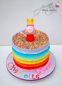 Rainbow Peppa Pig cake: