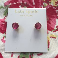 """kate spade Stud Earrings Pretty in pink! Faceted deep pink stone set in 14K gold fill. Approx 1/4"""" round. kate spade Jewelry Earrings"""