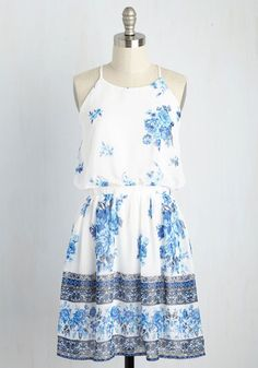 Positive Prediction Dress - White, Blue, Floral, Print, Casual, Sundress, A-line, Sleeveless, Summer, Woven, Good, Mid-length, Boho