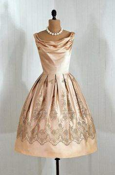 1950's champagne satin cocktail dress. by TimelessVixenVintage on Etsy. I love the draped cowl neckline