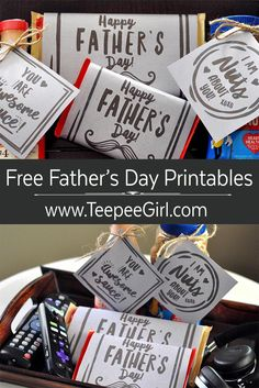 Free Father's Day printables  & tags. The perfect (and inexpensive) way to show some love and cuteness. www.TeepeeGirl.com