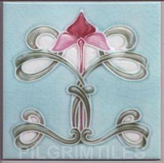 Art Nouveau Arts&Crafts CeramicTiles Plaque Fireplace Kitchen Bathroom ref an32