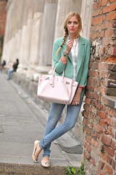 Spring look with mint green color