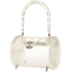 1950s Clear Carved Lucite and Rhinestone Barrel Bag at 1stdibs by Terese Vernita