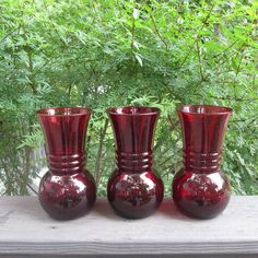 Three Vintage Royal Ruby Vases by Anchor Glass  Vintage