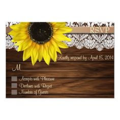 Sunflower Wedding Invitations Sunflower and lace RSVP Cards