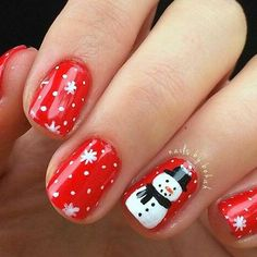 Newest Christmas Nail Ideas for Christmas Sweater Nail Art Designs Ideas; easy and cute Christmas nails; Nail Art Noel, Xmas Nail Art, Holiday Nail Art, Holiday Mood, Beach Holiday, Red Nail Polish, Red Nails, White Polish, Snowman Nails
