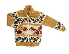 The North American Squirrel in original colors. Hand knit featuring raglan sleeves and two straight pockets. Canadian Sweater Company leather zipper pull and neck label, heavy-duty brass zipper. Mens Knit Sweater Pattern, Sweater Knitting Patterns, Knit Vest, Knitting For Kids, Hand Knitting, Cool Sweaters, Sweaters For Women, Cowichan Sweater, Icelandic Sweaters