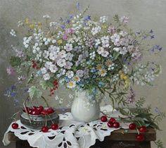 Ukraynalı realist ressam Lydia Datsenko harikulade natürmortları ile tanınıyor. Kompozisyonun içerisinde çok sevdiğim ''beyaz iş''görüntü...
