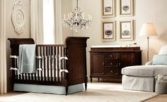 Adorable Nursery Furniture for Charming Nursery Interior : Elegant Nursery Room Design Dark Wood Nursery Furniture Crystal Chandelier