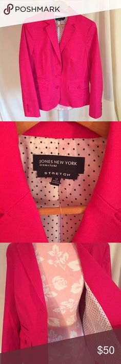 Jones NY Fushia Blazer This brand new//never been worn// still has tags blazer comes in a bright fuchsia that is lined with black and white polka-dots on the inside- is a fun statement business/casual outterwear piece:) Greats with all-black slacks or a black dress underneath! Jones New York Jackets & Coats Blazers