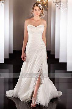 A-Linie Elfenbein Glamouröses Brautkleid
