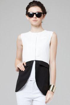 #Romwe Contrast Color Black-white Vest
