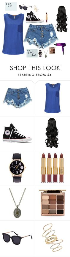 """Untitled #4046"" by if-i-were-famous1 ❤ liked on Polyvore featuring BOSS Orange, Converse, tarte, Stila, BP. and BaByliss"