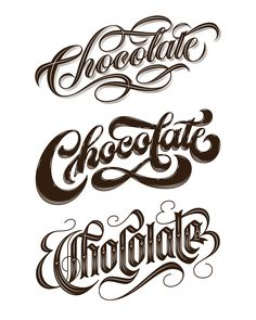 Jess is a letterer/illustrator living and working in a tiny stone cottage in Sydney. She first discovered the joys of expressive hand lettering as a ten-year-old, studyin Chocolate Logo, Chocolate Typography, Chocolate Letters, Chocolate Quotes, Chocolate Shop, Typography Love, Typography Letters, Scrapbook Templates, Label Templates