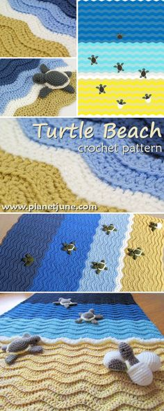 A crocheted blanket that tells a story! Baby sea turtles hatch on the beach and make their way to the sea...