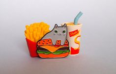 Burger Cat enamel lapel pin - Cat pin Created from my original burger cat illustration, these super cute enamel pins are perfect for any jacket,