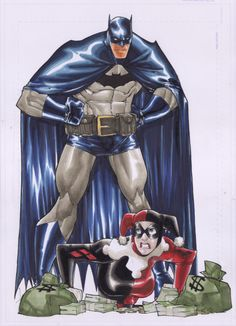 Batman & Harley Quinn by Humberto Ramos Comic Art Batman Vs, Harley Batman, Batman Poster, Batman The Dark Knight, Batman Comics, Joker And Harley, Batman Robin, Batman Arkham, Dc Comics