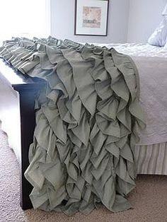 DIY ruffled throw - using 2 king sized sheets