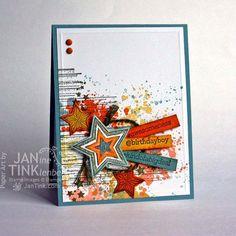 Urban Grunge Happy Birthday Fancy Greeting Card Handmade in Blue Orange Yellow Green for Boyfrirend Son Friend Husband Teen or Adult by JanTink on Etsy