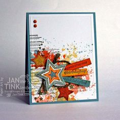 Urban Grunge Happy Birthday Fancy Greeting Card Handmade in Blue Orange Yellow Green for Boyfrirend Son Friend Husband Teen or Adult by JanTink on Etsy