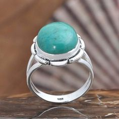 EXCLUSIVE 925 SOLID STERLING SILVER Turquoise FANCY RING 5.89g DJR10473 SZ-8.5…