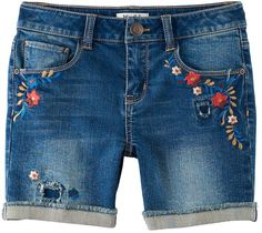 Mudd Girls 7-16 & Plus Size Embroidered Flowers Midi Jean Shorts