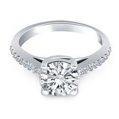 14K White Gold Trellis Diamond Engagement Ring