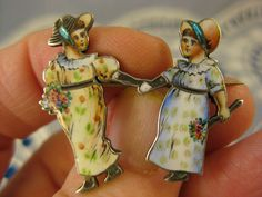 Antique French Enamel ~HAND IN HAND VICTORIAN GIRL PIN~Depose 900 Silver Brooch